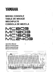 Yamaha MC803 Operation Manual