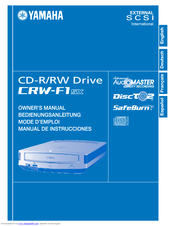 Yamaha CD Recordable/Rewritable Drive CRW-F1SX Owner's Manual