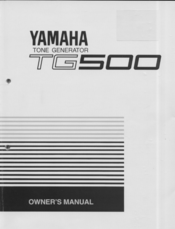 Yamaha TG500 Owner's Manual