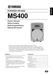 Yamaha MS400 Owner's Manual