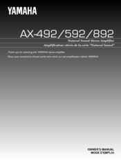 Yamaha AX-492, AX-592, AX-892 Owner's Manual