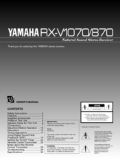 Yamaha RX-V1070/870 Owner's Manual