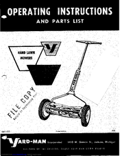 Yard-Man 0611-213 Operating Instructions And Parts List