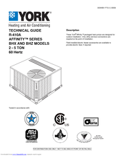 york affinity r 410a manuals