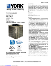 york split system. york split-system yhjd18 thru 60 technical manual (30 pages) split system t