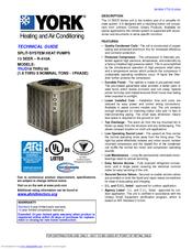 york split system. York SPLIT-SYSTEM YHJD18 THRU 60 Technical Manual (36 Pages) Split System