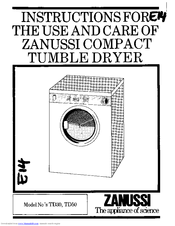Zanussi TD30 Instructions For The Use And Care