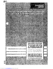 Zanussi TD60 Instructions For The Use And Care