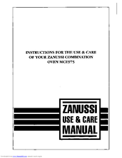 Zanussi MCE975 Use & Care Instructions Manual