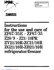Zanussi 10R-ZC21 Instructions For The Use And Care