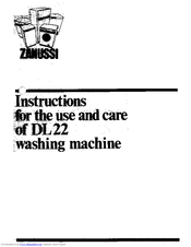 Zanussi DL 22 Use And Care Manual