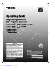 toshiba 72hm196 72 rear projection tv manuals rh manualslib com Toshiba DLP Chip Replacement Toshiba Projection TV 72