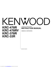 Kenwood KRC-478R<u>/RV</u> Instruction Manual