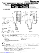 206696_td12z_product aiphone td 6z manuals aiphone td-6h wiring diagram at crackthecode.co