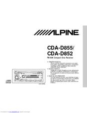 alpine cda d852 owner s manual pdf download rh manualslib com Alpine CDA- 9855 Aux Alpine CDE 2018