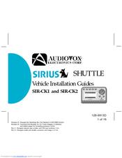 Audiovox Sirius Shuttle SIR-CK2 Manuals