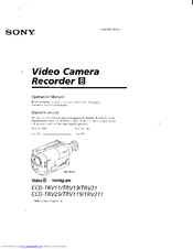 Sony CCD-TRV211 Operation Manual