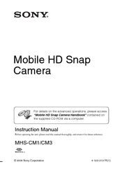 Sony MHS CM1 - Webbie HD Camcorder Instruction Manual