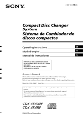 Sony CDX-454RF - Compact Disc Changer System Operating Instructions Manual