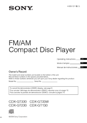 sony cdx-gt130 operating instructions manual pdf download | manualslib  manualslib