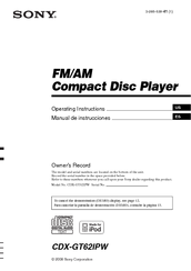 Sony CDX-GT62IPW - Fm/am Compact Disc Player Operating Instructions Manual