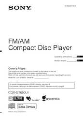 Sony CDX-GT650UI - Fm/am Compact Disc Player Operating Instructions Manual