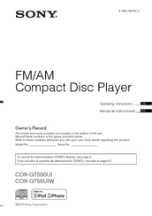 sony cdx gt550ui fm am compact disc player manuals rh manualslib com Sony Cdx Gt35uw Manual sony xplod cdx-gt550ui wiring diagram