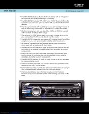 sony mexbt cd receiver bluetooth hands manuals sony mexbt2700 cd receiver bluetooth hands specification sheet