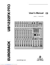 behringer eurorack ub1222fx pro user manual pdf download rh manualslib com behringer eurorack ub1222fx-pro user manual behringer eurorack ub1222fx-pro mixer price
