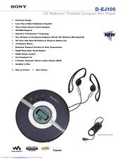 sony cd walkman d ej100 manuals rh manualslib com Sony Walkman DEJ011 Purchase Sony Walkman DEJ011 Purchase