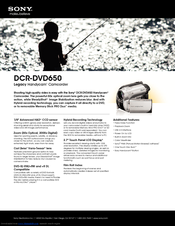 Sony DCR-DVD650 - Hybrid Dvd Camcorder Specifications