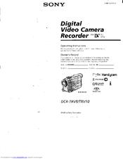 Sony DCR-TRV8 Operating Instructions Manual