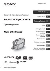 Sony Handycam HDR-UX10 Operating Manual