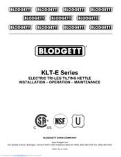 Blodgett KLT-60E Installation Operation & Maintenance