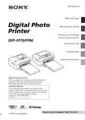 sony dpp fp70 picture station photo printer manuals rh manualslib com Operators Manual Operators Manual
