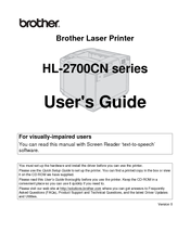 Brother 2700CN - HL Color Laser Printer User Manual