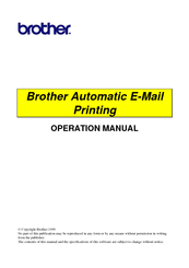 Brother Automatic E-Mail Printing Operation Manual