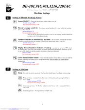 Brother BE-0901E PC Settings Manual