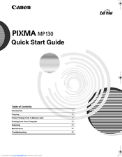 Canon PIXMA MP130 Quick Start Manual