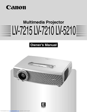 Canon LV-7210 - XGA LCD Projector Owner's Manual