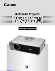 Canon LV-7345 Owner's Manual