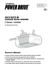 Chamberlain POWER DRIVE PD210D Owner's Manual