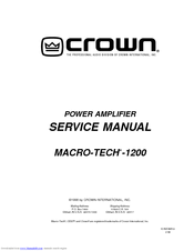 Crown Audio Macro-Tech MA-1200 Service Manual