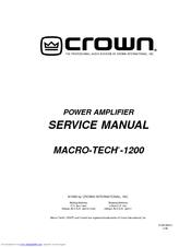 Crown Macro-Tech MA-1200 Service Manual