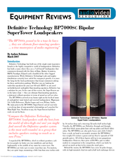 Definitive Technology SuperTower BP7000SC Equipment Reviews