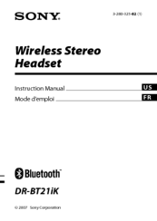 Sony DR-BT21G - Stereo Bluetooth Headset; Neckband Style Instruction Manual