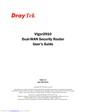 Draytek Vigor 2910VG User's Manual