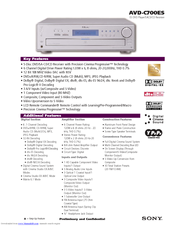 Sony AVD-C700ES - 5 Dvd Changer/receiver Specifications
