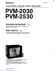 Sony PVM-2530 Operating Instructions Manual