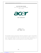 Acer RAID Ready Systems User Manual